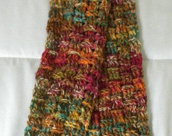 ON SALE Scarf  Neckwarmer Handmade Crochet - Multi Color Merino Wool