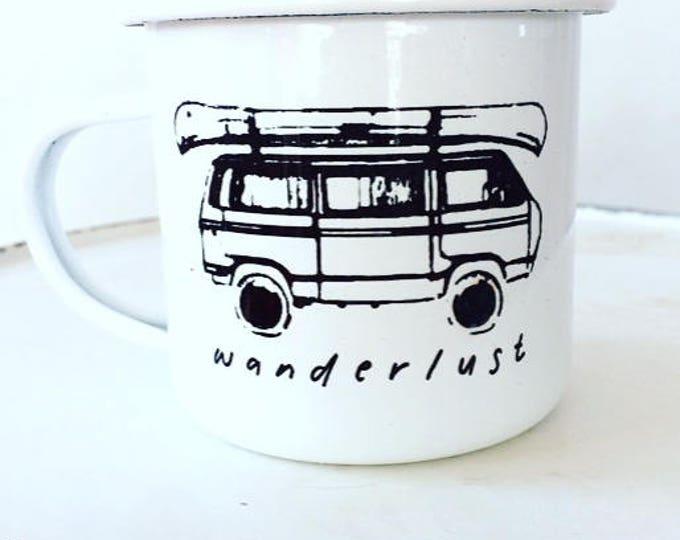 Camp Mug, Wanderlust, Outdoor Adventurer White Mug Enamel Mug