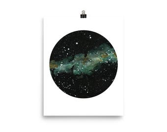 Aqua Green Nebula Round Space Print, Watercolor Art Print Poster, Outer Space with Stars Sky Round Wall Art