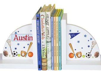 Sports theme bookend etsy childrens custom sports bookends personalized book ends baby gift kids books football baseball soccer nursery theme negle Gallery