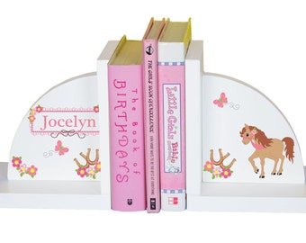 Personalized Pony Bookends for Girls Custom Horse Book Ends Horseback Rider Nursery Equestrian Theme Room Decor Barn Cow Girl ENDS-305