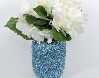 Light Blue Glitter Mason Jar for Wedding Decor, Baby Shower Decor, Graduation Party Decor, Birthday Party Decor Frozen Party Decor