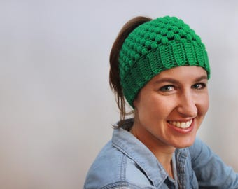 Messy Bun Beanie, Ponytail Hat, Top Knot Hat, Messy Bun Hat, Crochet Winter Hat, Gift for her St. Patricks Day, Green
