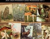 Vintage Woodland Printable Digital Collage Sheet Set 1 Wild Flowers Mushrooms Animals of the Forest Instant Download ATC Cards JPG Format
