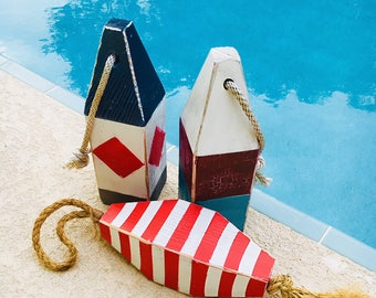 Coastal Decor Set of 3 Buoys Nautical Wooden by SEASTYLE