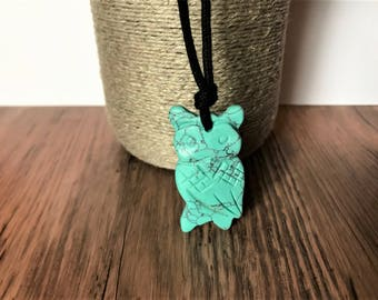 ORGANIC Nursing Necklace / Mama Necklace - Turquoise OWL on Certified Organic Cotton Cord (Adjustable)