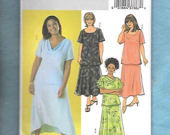 Butterick 4143 Women's Top & Skirt, W/ Cowl, Or Scoop Neck, Short Sleeves, Shaped Or Straight Hem Skirt, Sizes 28W-32W, UNCUT
