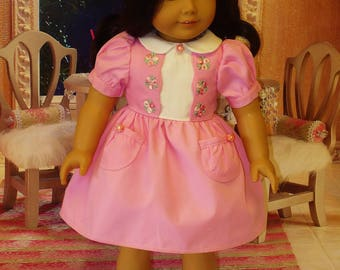 Embellished Rose Dress and Accessories fits American Girl Dolls Kit and Ruthie