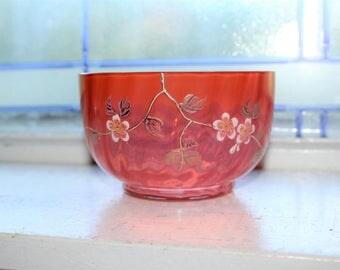 Mt. Washington Glass Peach Bowl Enameled Floral Decor Antique 1800s