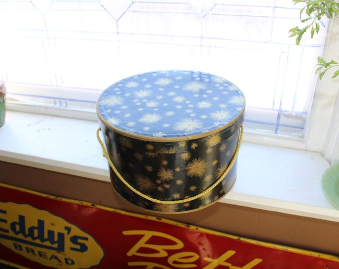 Vintage Hat Box Black with Gold Starbursts