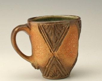ceramic coffee mug with carving, pottery mug, coffee mug, wheelthrown mug, carved mug, stoneware mug, unique mug, potterybyshikha, Shikha