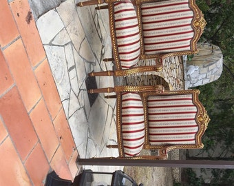 1 Set of 2 ARMCHAIRS French antique Louis XV style