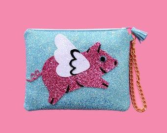 Glitter Flying Pig Clutch Purse Handbag - LIMITED EDITION