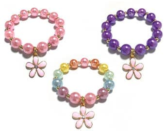 Toddler or Girls Small Beaded Pink Flower Charm Bracelet - Purple and Pink Flower Bracelet - Pastel Rainbow Charm Bracelet - Spring Floral