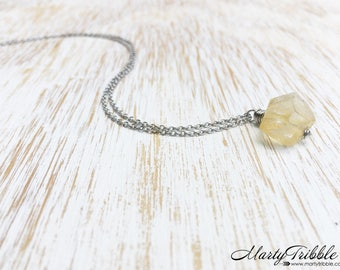 Yellow Citrine Necklace, November Birthstone Necklace, Gemstone Jewelry, Stainless Steel Necklace, Citrine Jewelry, Healing Crystal Jewelry