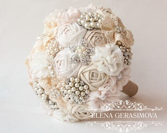Brooch Bouquet. Ivory Fabric Bouquet, Vintage Bouquet, Rustic Bouquet, Unique Wedding Bridal Bouquet