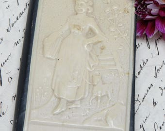 Antique Child's Victorian Mirror, Comb, Button Hook Vanity, Mary Had a Little Lamb