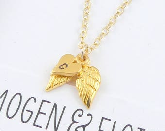 Angel Wing Necklace, Gold Angel Wing Necklace, Wing Necklace, Personalized Angel Wing Necklace, Memorial Necklace, Sympathy Gift