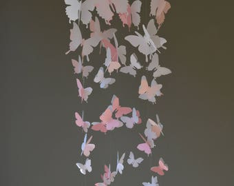 Butterfly nursery mobile / baby mobile made with soft pink, pink and white butterflies --- Butterfly babyshower, nursery art, nursery decor