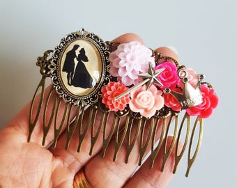 Sleeping Beauty Aurora Disney Silhouette Fairytale Cameo Handmade Bridal Hair Comb Wedding Hair Disney Wedding Gift for Her