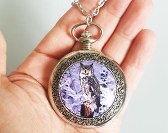 Harry Potter Messenger Owl Snowy Owl Hedwig Antique Silver Pocket Watch Pendant Necklace Working Quartz Watch Necklace