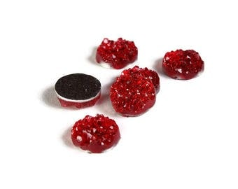 12mm Red round resin cabochon - Faux druzy cabochon - Faux drusy cabochon - Textured cabochon - Glitter cabochon (2012)