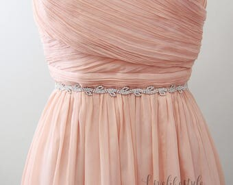 Skinny Leaves Jewel with Ribbon Sash, Rhinestone Wedding Sash Belt, Bridesmaid Sash, Flower Girl Sash