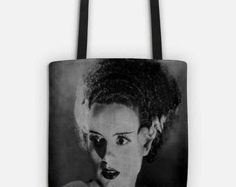 Bride of Frankenstein TOTE Bag, Halloween Candy Tote, Market Bag, Black and White Chalkboard Art Print, Vintage Halloween Decor, Book Bag
