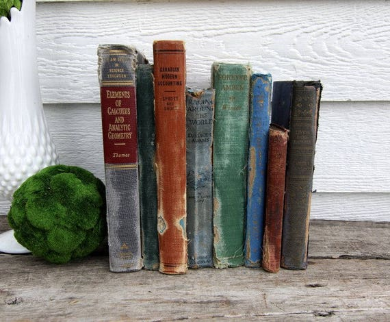 Set of 8 Vintage Books - Antique Book Decor -Farmhouse - Tattered Books - Blue, Red, Green, Orange, Black - Rustic Books - French Country