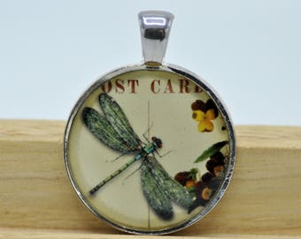 Resin Pendant, Dragonfly, Flowers, Silver, Round, 25MM, 1 Inch, Summer Jewelry, For Her
