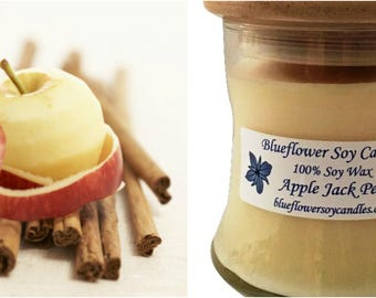 Scented Soy Candle Apple Jack Peel Hand Poured 12 oz Jar With Wood Lid