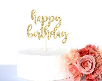 Gold glitter happy birthday cake topper, glitter cardstock paper cake decoration