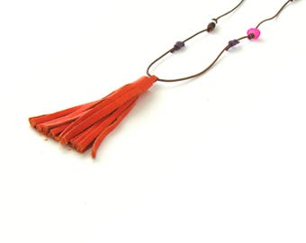 Tassel Necklace Leather, Beaded Colorful Long Statement Jewelry, Tribal Boho