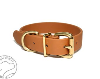 "Caramel Brown Biothane Dog Collar - 1"" (25mm) wide - Solid Brass or Stainless Steel Hardware - Leather Look and Feel - Waterproof"
