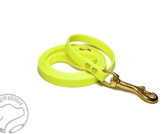 """Sunny Neon Yellow Small Dog Leash - 12mm (1/2"""") Wide Biothane Leash - Choice of: 4ft, 5ft or 6ft (1.2m, 1.5m, 1.8m) and Hardware Type"""