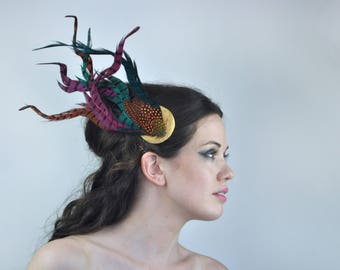 Feather Fascinator in Turquoise, Pink, Orange and Gold