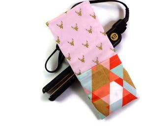 Travel Flat Iron Case-Curling Iron Case, Hot Iron Case, Coral Mint and Gold Triangles and Stags