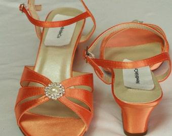 Orange WEDDING Shoes B W WW width comfortable heel 200 colors, Short Thick Heel, Satin Open Toe Sandals, Crystals and Pearls, Wide Width