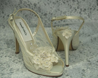Lace Wedding Shoes IVORY  - 3.5''  heel sling back Peep Toes Hand Embellished pearls crystals heart,Modern Cinderella See Thru Lace Pumps