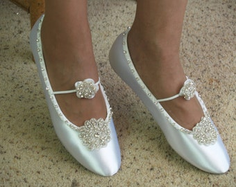 Size 9 1/2 Wedding Shoes Ballet Swarovski Silver Crystals flowers Ready to ship,Bling White Satin Flats,Luxurious,Mary Janes,Old Hollywood