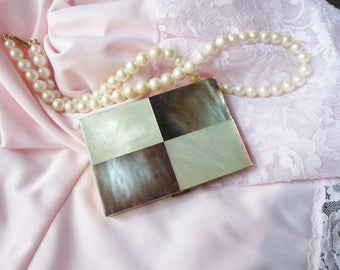 Mother of Pearl Combination Powder Rouge Compact, Engraved Nellie Ledbetter