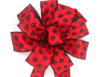 Red Bow / Dog Bow / Paw Print Bow