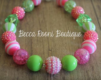 Chunky Bubblegum Necklace, Pink and Green Bubblegum Necklace, Bubblegum Necklace, children's chunky necklace, children's bubblegum necklaces