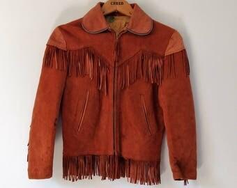 Vintage 1960s 60s fringed suede jacket, hippie boho fringe jacket, xs