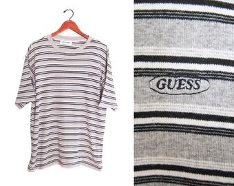 vintage t shirt / GUESS t shirt / striped t shirt / 1990s oversize grey striped GUESS embroidered t shirt Large