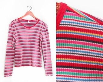 vintage t shirt / Tommy Hilfiger shirt / rainbow striped / 1990s rainbow striped Tommy Hilfiger long sleeve shirt Medium