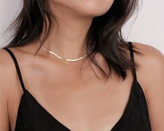 Dainty Gold Snake Chain Choker - Layering Chocker - statement necklace - Boho Choker Necklace