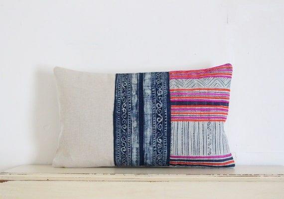 """Hmong indigo batik pillow cushion cover 12"""" x 20"""""""
