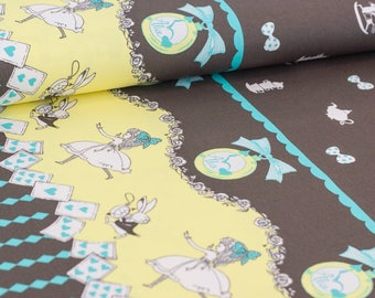 Shinzi Katoh | Japanese fabric - kawaii Usagi Alice - oxford cotton - brown - 1/2 YD