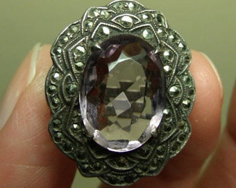 Art Deco Sterling Ring Marcasite Amethyst Glass Flapper Gatsby Era Signed Uncas R.I. Silver